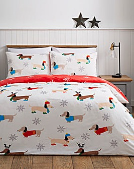 Winter Sausage Dogs Fleece Duvet Cover Set