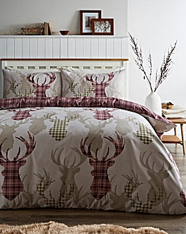 Tartan Stag Natural Reversible Duvet Cover Set
