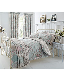 Saskia Duck Egg Reversible Duvet Cover Set