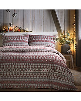 Fairisle Reversible Brushed Cotton Duvet Cover Set