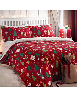 Elf & Santa Reversible Duvet Cover Set