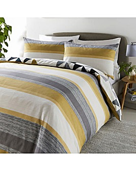 Hendra Ochre Stripe Reversible Duvet Cover Set