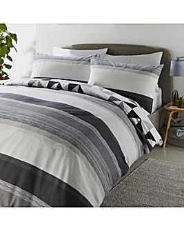 Hendra Grey Stripe Reversible Duvet Cover Set