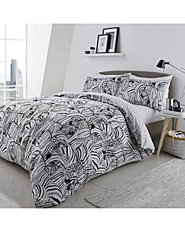 Zebra Print Reversible Duvet Cover Set