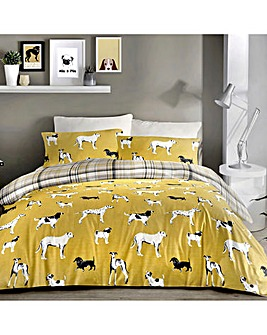 Dogs Reversible Duvet Cover Set