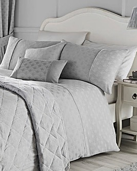 Serene Nouveau Fan Silver Duvet Cover Set