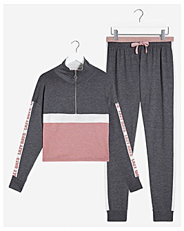Boux Avenue Zip Panel Top & Pants Set