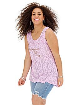 Neon Lilac Burnout Slogan Vest Tunic