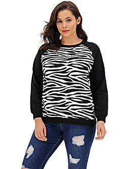 Zebra Woven Front Sweatshirt