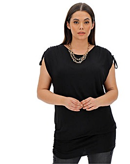 Black Ruched Shoulder Band Hem Tunic