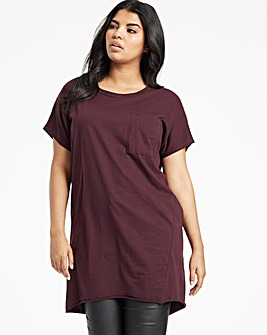 Aubergine Drop Shoulder Pocket Tunic