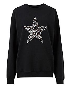Leopard Print Star Sweatshirt