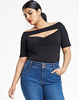 Black Bardot Cut Out Ruched Neck Top