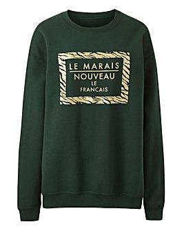 Le Marais Dark Green Glitter Sweatshirt