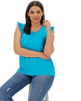 Blue Sleeveless Ruffle Top