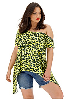Leopard Asymmetric Off The Shoulder Top