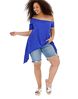 Blue Assymetric Off The Shoulder Top
