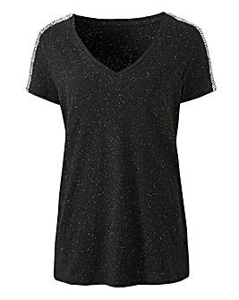 Sequin Shoulder Tape T-shirt