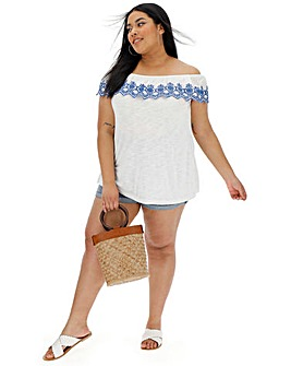 White/ Blue Broderie Bardot Top