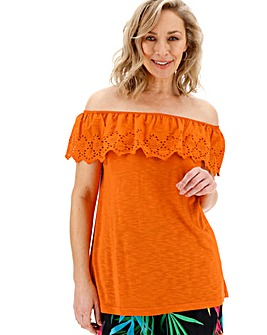 Orange Broderie Bardot Top