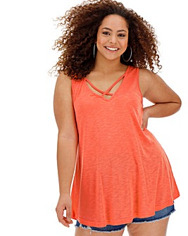 Coral Strappy Vest Top