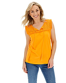 Saffron Yellow Broderie Trim Bib Top