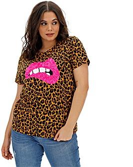 Sequin Lips Embellished T Shirt