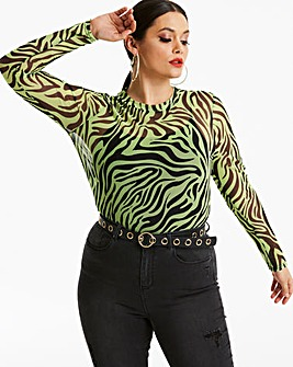 Neon Yellow Tiger Mesh Long Sleeve Top