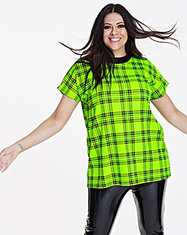 Neon Lime Check High Neck T-Shirt
