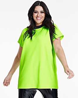 Neon Lime Textured High Neck T-Shirt