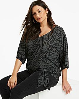 Khaki Zebra Print Kimono Sleeve Top