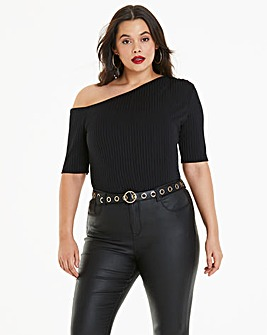 Black Off The Shoulder Rib Top