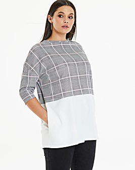 Oversized Colourblock Pink Check Tunic