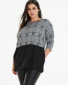 Oversized Colourblock Mono Check Tunic