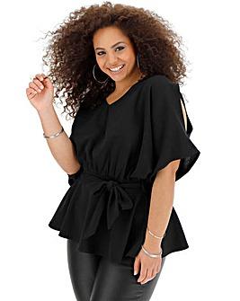 Black Kimono Sleeve Peplum Tie Waist Top
