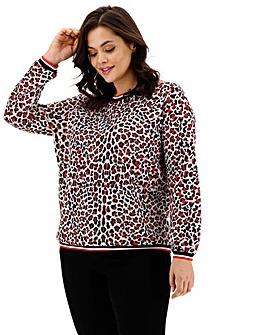 Jacquard Red Animal Sweatshirt