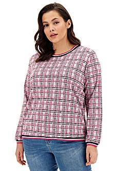 Jacquard Pink Check Sweatshirt