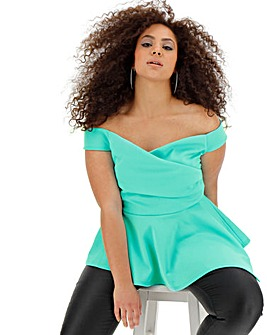 Aqua Scuba Wrap Asymmetric Top