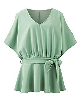 Green Kimono Sleeve Peplum Tie Waist Top