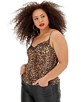Leopard Print Lace Cami Top