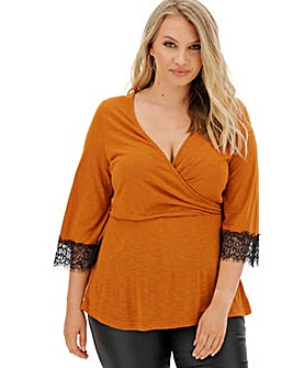 Fudge Lace Trim Wrap Top