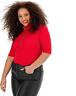 Red Zip Half Sleeve Rib Top
