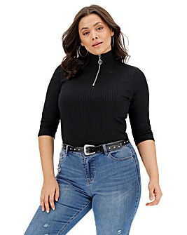 Black Zip Half Sleeve Rib Top