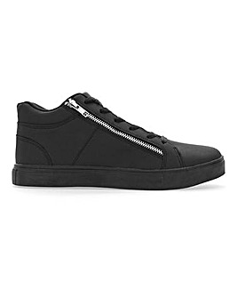 Leather Look Zip Detail High Top Trainer