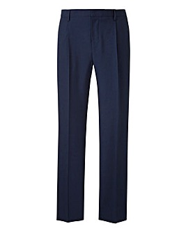 Navy Pleat Regular Fit Trousers