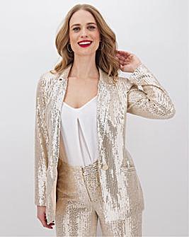 Champagne Longline Sequin Blazer