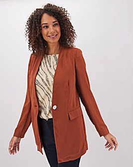 Chocolate Lightweight Collarless Blazer