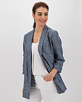 Chambray Blue Linen Mix Blazer