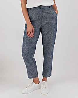 Chambray Blue Linen Mix Tapered Trousers