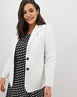 White Puff Sleeve Blazer